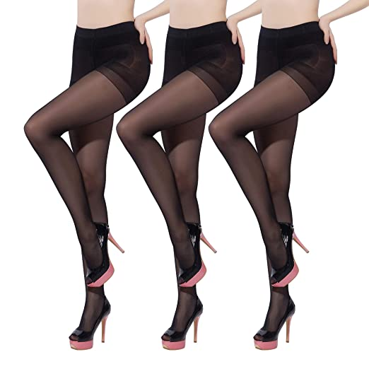 2774f86d7 3Pairs Plus Size Women s Full Length Footed Pantyhose Stretch Semi Sheer  Tights (Black)