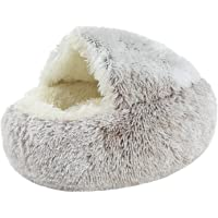 #N/A Pet Bed- Round Soft Plush Nest Cave Hooded Cat Bed for Dogs & Cats, Faux Fur Cuddler Round Comfortable Self Warming…