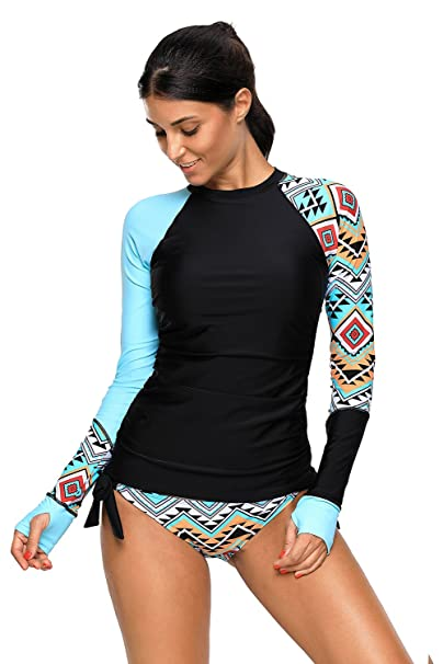 af803e0c75db2 Printed Long Sleeve Rash Guard Athletic UPF 50+ Athletic Top Rash Guard  Swimwear Swimsuit for