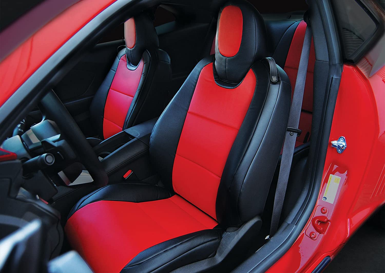 Amazon 2010 2015 Chevy Camaro Black Red Artificial Leather Custom Fit Front Seat Cover Automotive