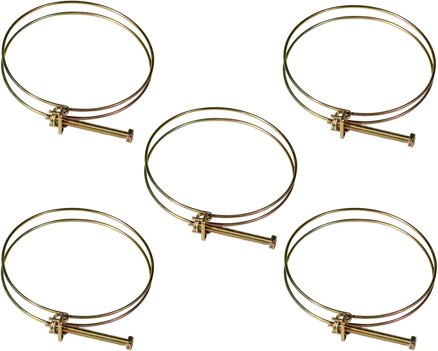 POWERTEC 70197 2-1/2-Inch Double Wire Hose Clamp | 5-Pack
