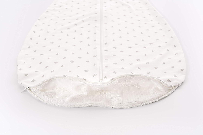 dise/ño de estrellas color blanco y gris algod/ón, 60 cm Tr/äumeland S0200102 Liebesmich Saco de dormir de verano