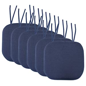 """Sweet Home Collection Chair Cushion Memory Foam Pads with Ties Honeycomb Pattern Slip Non Skid Rubber Back Rounded Square 16"""" x 16"""" Seat Cover, 6 Pack, Navy"""