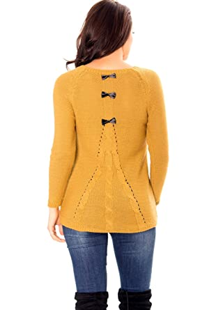 FASHION BOUTIK pull maille jaune moutarde noeuds dos femme sexy 36 38 40 (TU  36 ee4cf65fe93f