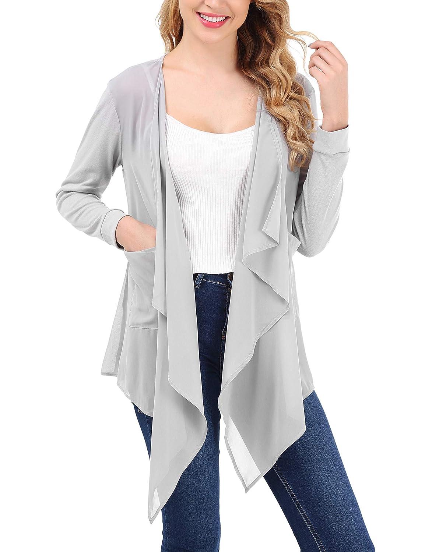 FISOUL Cardigan Donna Elegante a Manica Lunga Cardigan Leggero Davanti Aperto con Tasche Ideale per Primavera Estate Autunno Cappotto Casual