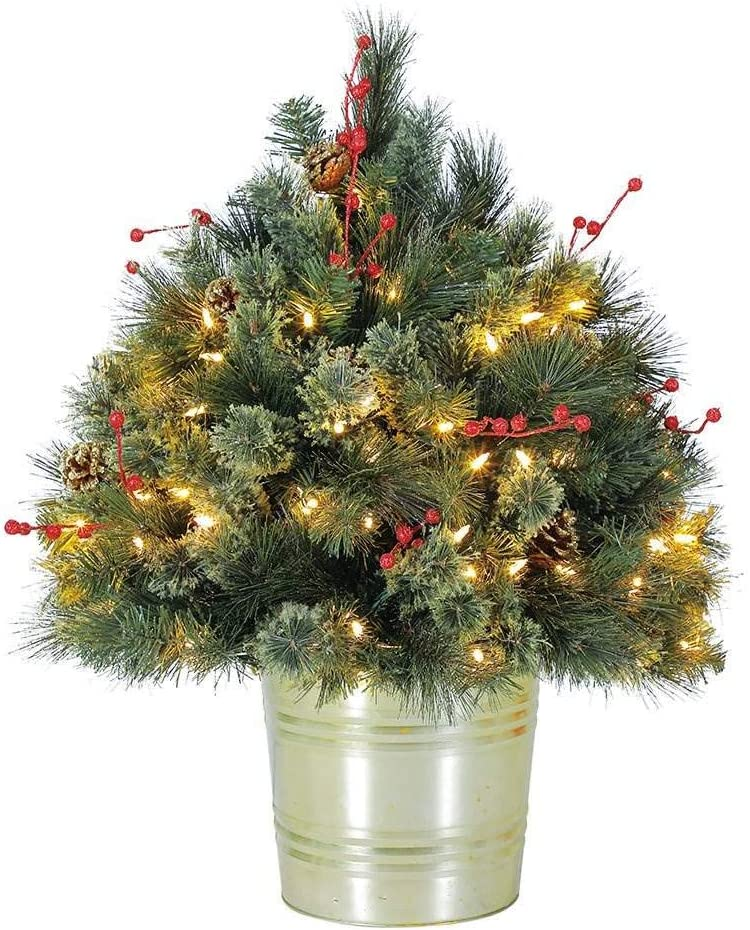Home Heritage 26 Inch Artificial Holiday Shrub for Indoor/Outdoor w/LED Lights