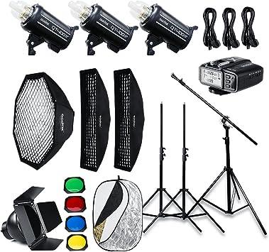 Studio Boom Arm Top Light Stand 110v X1T-F Trigger Compatible Fuji,Softbox,Light Stand Godox QT400II Built-in 2.4G Wireless X System,High Speed Studio Strobe Flash Light