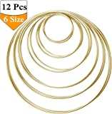 Set of 12 Pieces Dream Catcher Metal Rings Metal Hoops,Macrame Ring for Dream Catcher,6 Sizes(Gold)