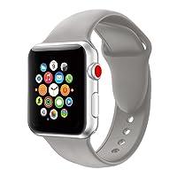 16 colori per Apple Watch cinturini 38mm/42mm,VODKER Cinturini in Silicone Morbido Cinturino/Cinturini di Ricambio Apple Watch Band/Strap/Orologio/Bracciale Apple Watch Series 3, Series 2, Series 1-grigio scuro 42mm