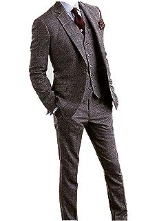 2ead61aff721c Men's Tweed Herringbone Check Tan Tuxedos Groom Slim Fit Formal ...
