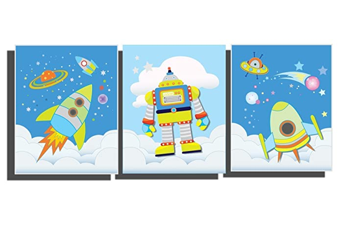 Incroyable Blue Outer Space Wall Art Boyu0027s Nursery Room Space Ship Rocket Pictures  Solar System Astronaut Planets