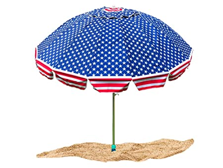 Party with Pride Giant 8 American Flag Beach Umbrella/with UV Protection/Includes Large Sand Anchor/for Sun and Outdoor/Windproof (American Flag)