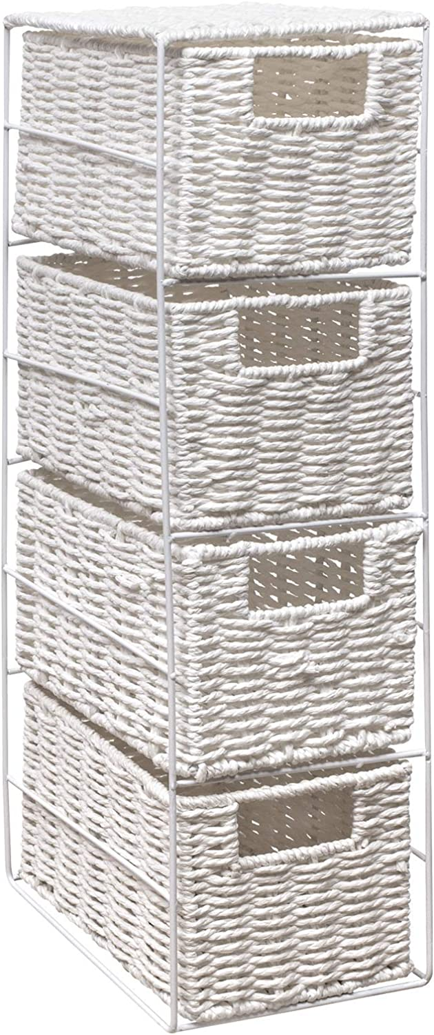 woodluv 4 Drawer Paper Rope Tower Storage Unit With Metal Frame, Ideal for Small Bathrooms & Home Storage, White