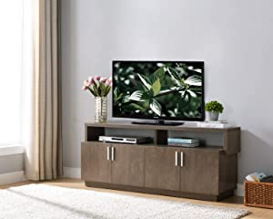 182342 Mid Century Modern TV Stand Entertainment Center Media Console Finished in Walnut Oak Color Tv Stand up to a 70 Inch Tv