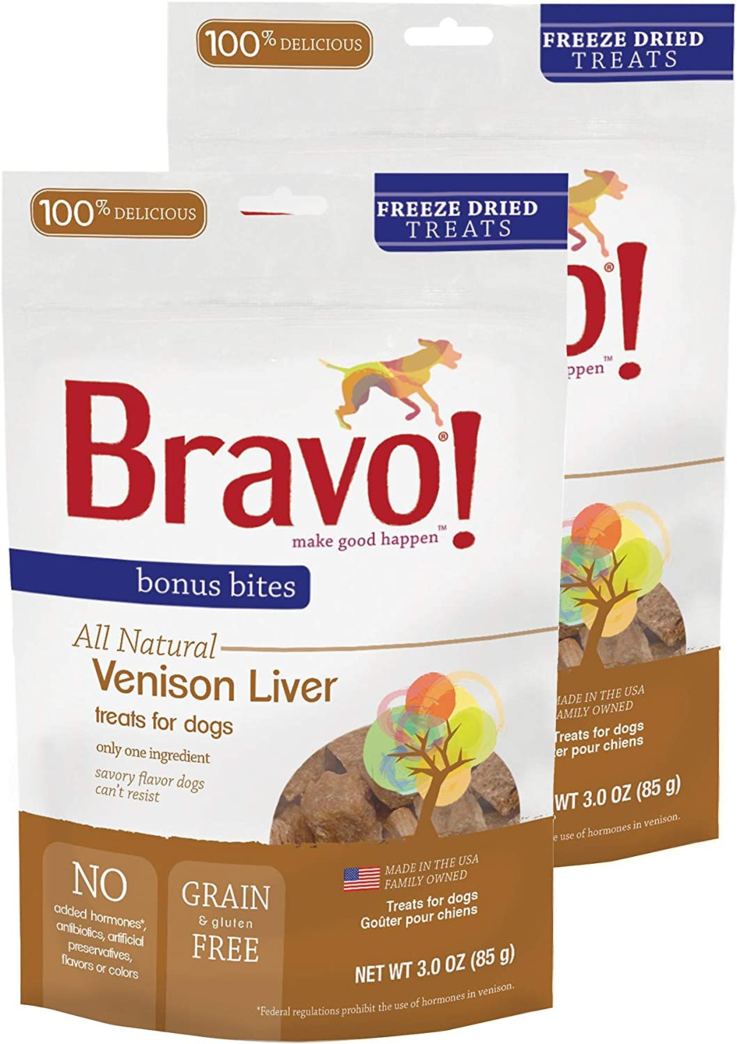 Bravo Bonus Bites All Natural Freeze Dried Venison Liver Dog Treats – Grain Gluten Free – 3 Ounce Bags