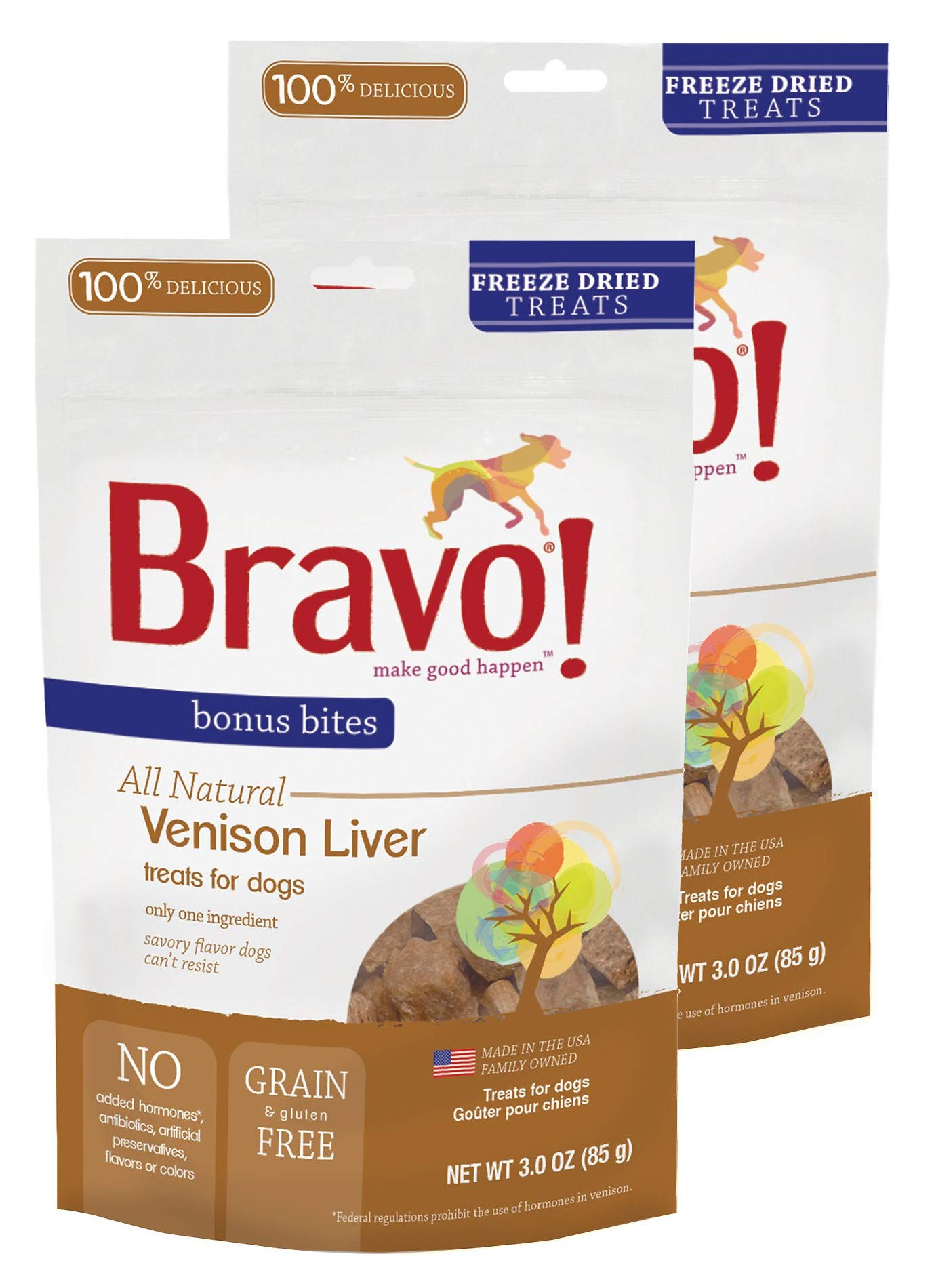 Bravo! Pet Treats Freeze Dried Venison Liver - All Natural - Grain Free - 3 oz. 2 Pack by Bravo!