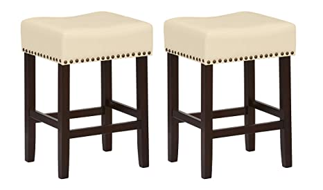 Phenomenal Ravenna Home Lisetta Nailhead Saddle Counter Stool 24H Espresso With Cream Faux Leather 2 Pack Forskolin Free Trial Chair Design Images Forskolin Free Trialorg