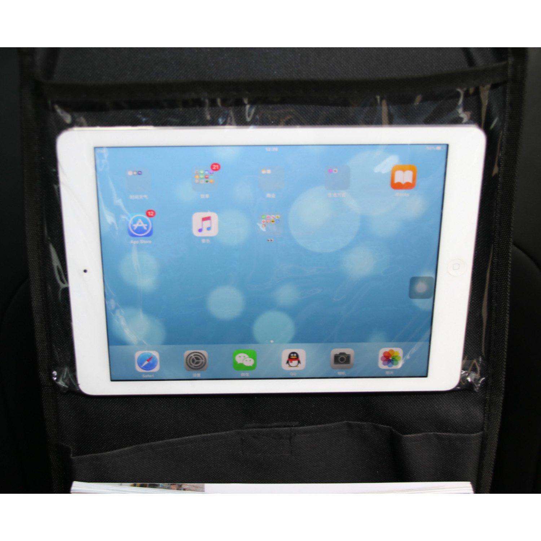 WESTLILNK Car Seat Organizer with Tablet Holder Travel Storage Back Bag Hanger Black