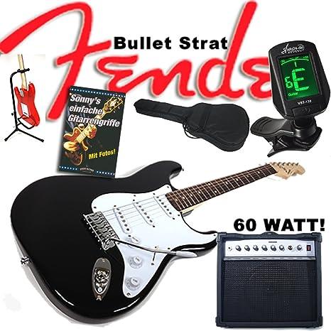 Guitarra eléctrica Original Fender Squier Bullet Strat Negro + 60 W Amplificador, funda, afinador, trípode, cable, ...