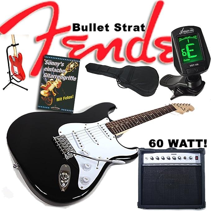 Guitarra eléctrica Original Fender Squier Bullet Strat Negro + 60 W ...