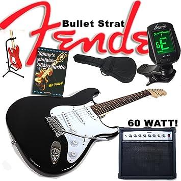 Guitarra eléctrica Original Fender Squier Bullet Strat Negro + 60 W Amplificador, funda, afinador