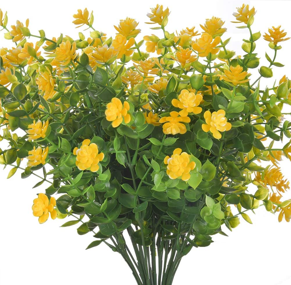 Artificial Fake Flowers, 4 Bundles Large UV Resistant Faux Plastic Greenery Foliage Plants Shrubs for Garden, Wedding, Outside Hanging Planter, Farmhouse Indoor or Outdoor etc Decor