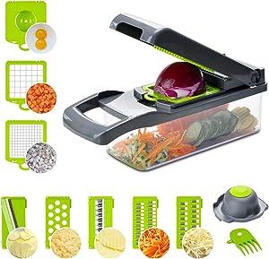 Veggie Slicer Vegetable Chopper, Lychee Multifunctional Household Kitchen Food Chopper Dicer for Veggie Fruit Salad Onion Potato (Grey)