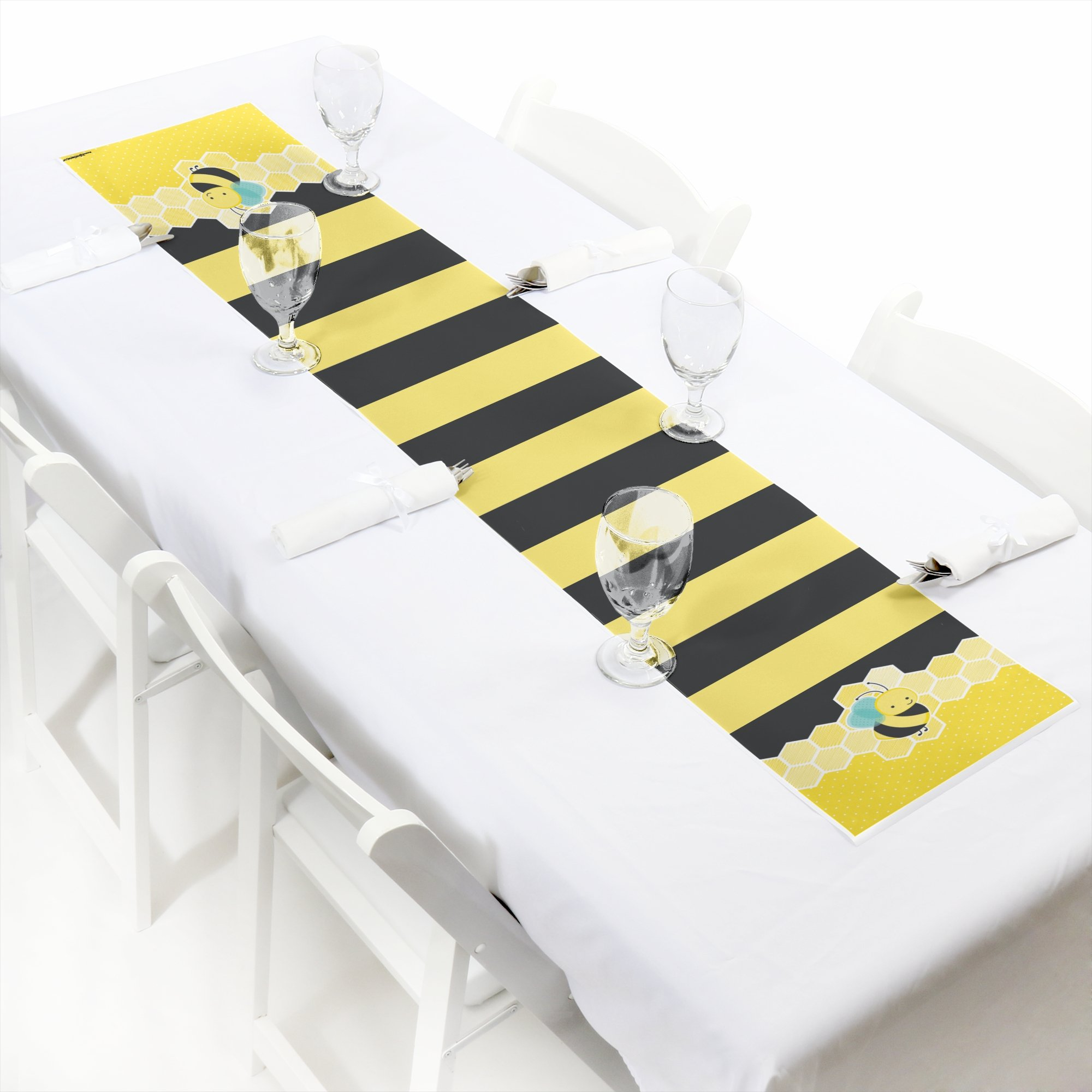 Honey Bee - Petite Baby Shower or Birthday Party Paper Table Runner - 12'' x 60'' by Big Dot of Happiness