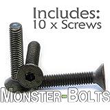 (10) M3-0.50 x 16mm - Flat Head Socket Caps Screws Countersunk DIN 7991 - Class 12.9 Alloy Steel w/Black Oxide - MonsterBolts (10, M3 x 16mm)