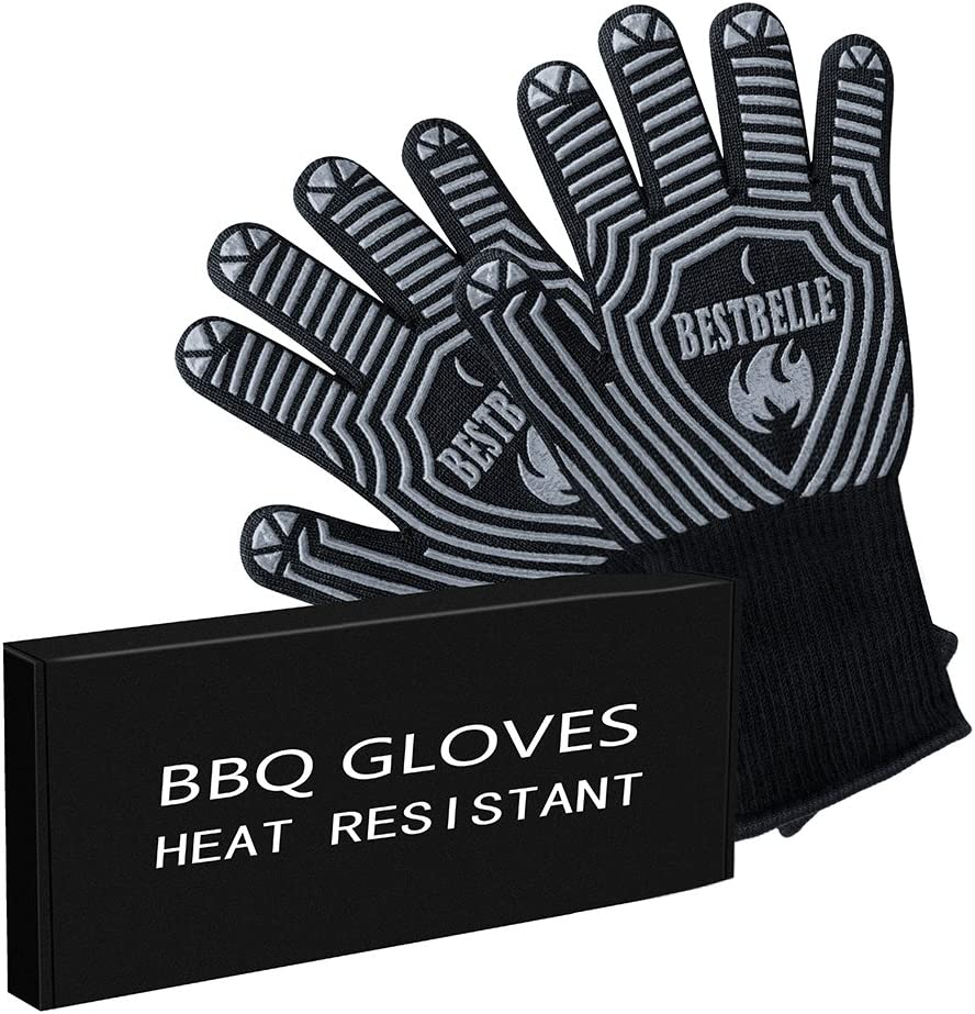 EN407 Certified-Lady Size -BBQ Grill Gloves-932°F Extreme Heat Resistant Non-slip Kitchen Oven Mitts- Top Class Barbecue Gloves-For Cooking, Grilling, Baking(2 gloves included)