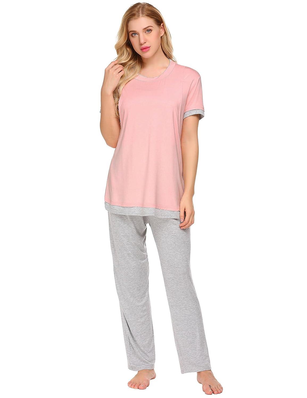 551c5b22da237 ... Ekouaer Maternity & Nursing Pajama Set, Patchwork Short Sleeve  Breastfeeding Sleepwear Pink XL EKK008966_P_XL ...