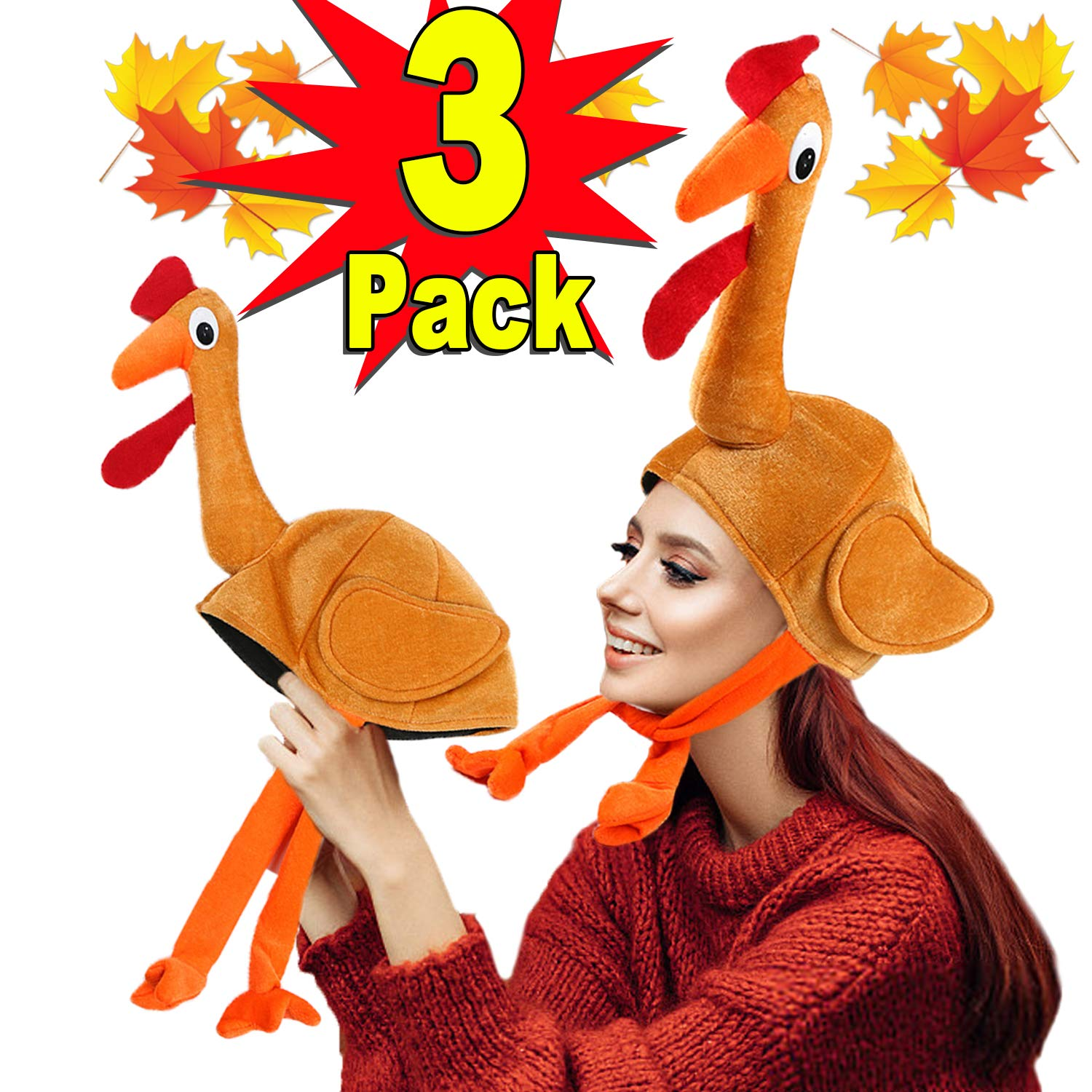 3 Pack Turkey Hats for Kids Woman Man Thanksgiving Hat With Head Thanksgiving Party Favors Supplies Fun Plump Turkey Hat Legs And Tail Fancy Dress Accessory Trot Accessory Toy for Holiday Gift by Funburg