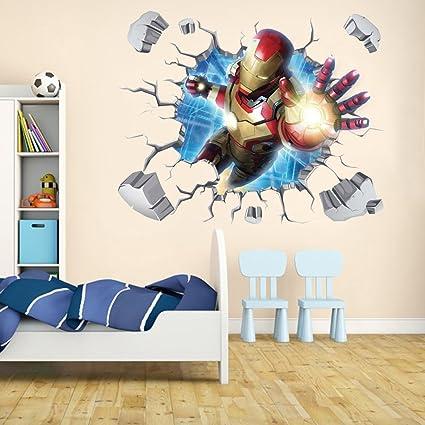 amazon com iron man through wall stickers with decor decal art