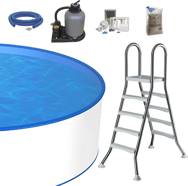 Piscina redonda premium 5,00m x 1,20m x 0,8mm de lámina de plástico y 0,6mm de revestimiento de acero. Con filtro de arena Flow 5(5,5m³/h) y escaleras de acero inoxidable. Juego de mangueras Ski