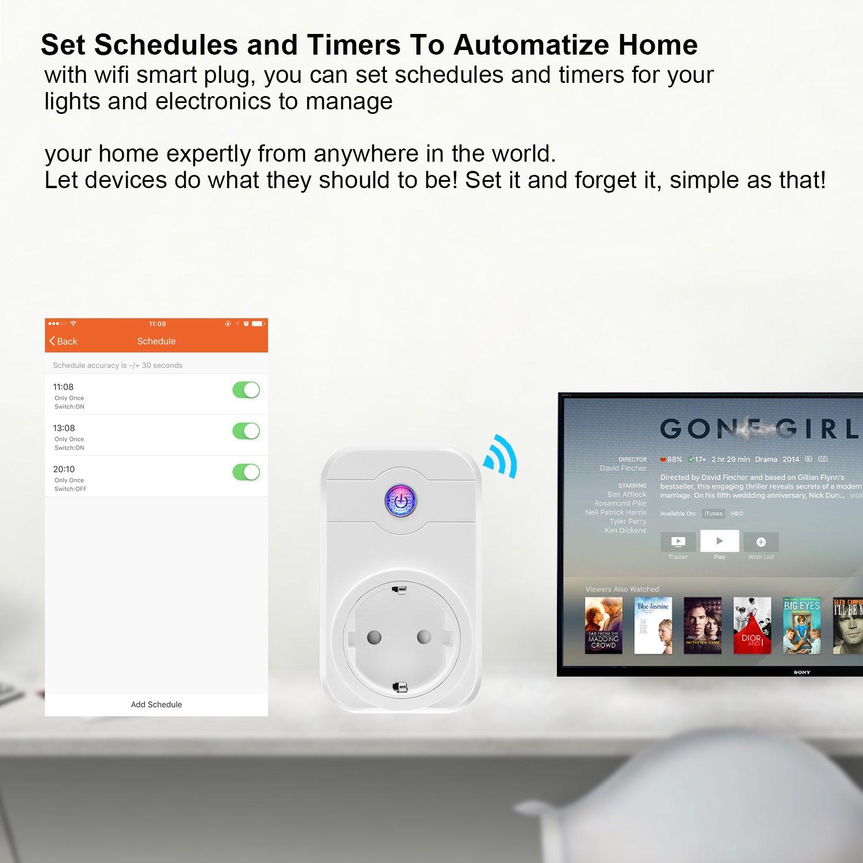 WiFi Smart Plug, LOBKIN Wireless Outlet Intelligente Timing-Buchse Kompatibel mit Alexa & Google Home, kein Hub erforderlich, Timing-Funktion, Remote Control Ihre Geräte überall (Weiß)