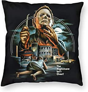 Halloween Decorations Michael Myers Throw Pillow Covers Cushion Cases for Couch Sofa Bed Living Room Decor 18 X 18 Inch