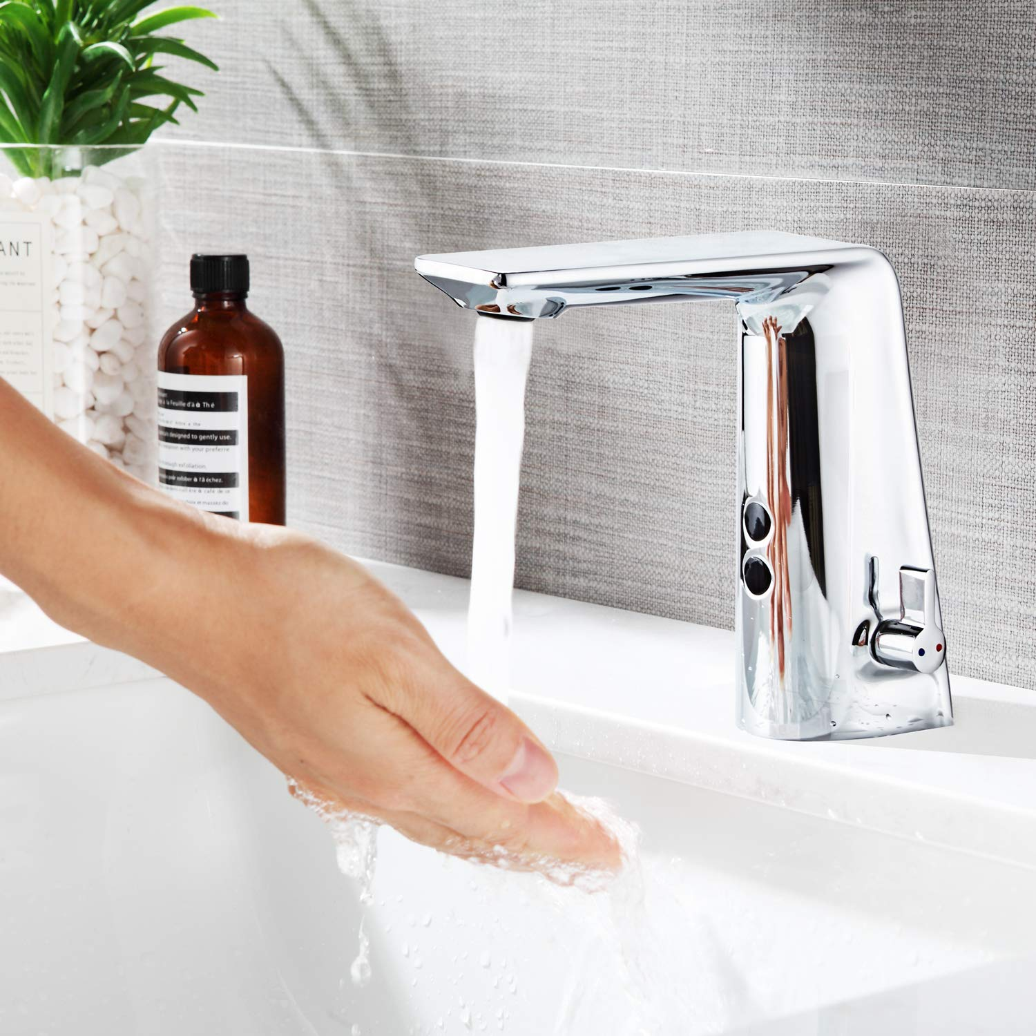 Automatic Sensor Motion Faucet Touchless Bathroom faucet Motion Activated Sink Tap Electronic Hands Free Vessel Sink Faucet with Dual Sensor Module, Temperature Valve,Adjustable Knob, Chrome Polished by Halo Sanitary