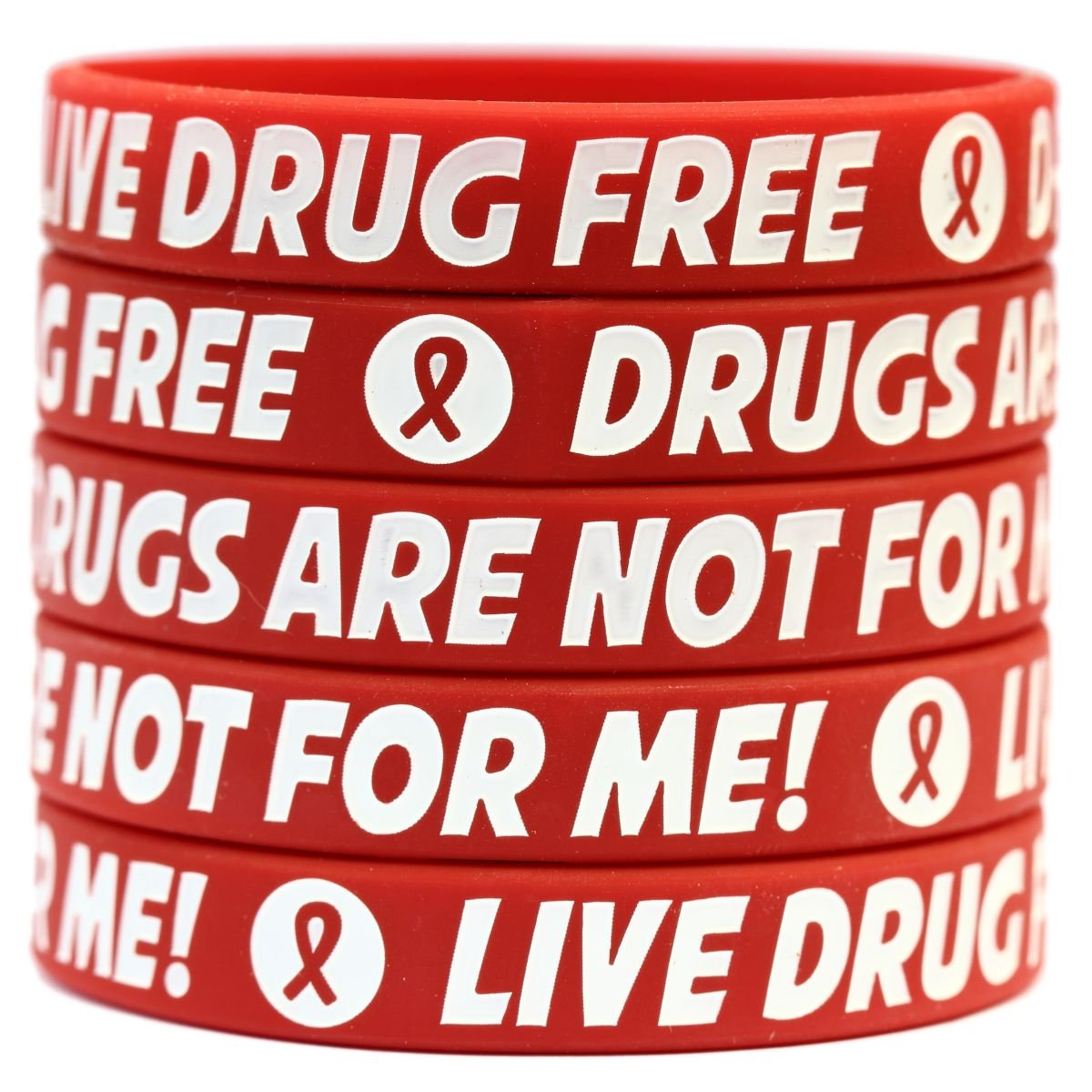 200 Red Child Size Live Drug Free Bracelets - Red Ribbon Week Wristbands by SayitBands (Image #2)