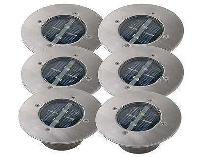 Bekannt 6er SET moderner Solar LED Bodeneinbaustrahler rund in Edelstahl BS23