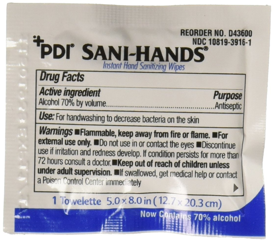 Nice Pak D43600 PDI Sani-Hands Instant Hand Sanitizing Wipes (Pack of 100)