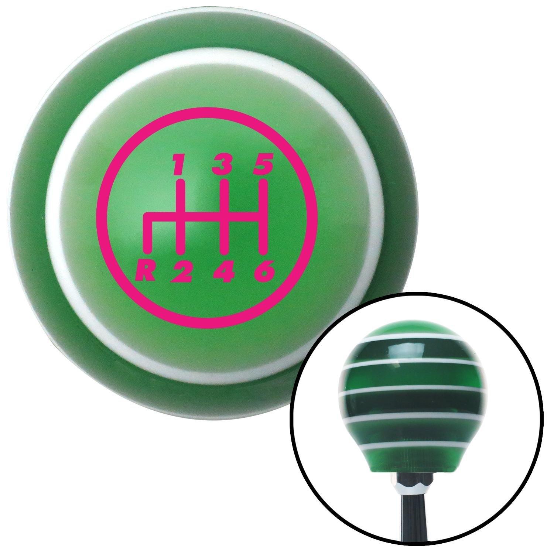American Shifter 126751 Green Stripe Shift Knob with M16 x 1.5 Insert Pink 6 Speed Shift Pattern - 6RDL