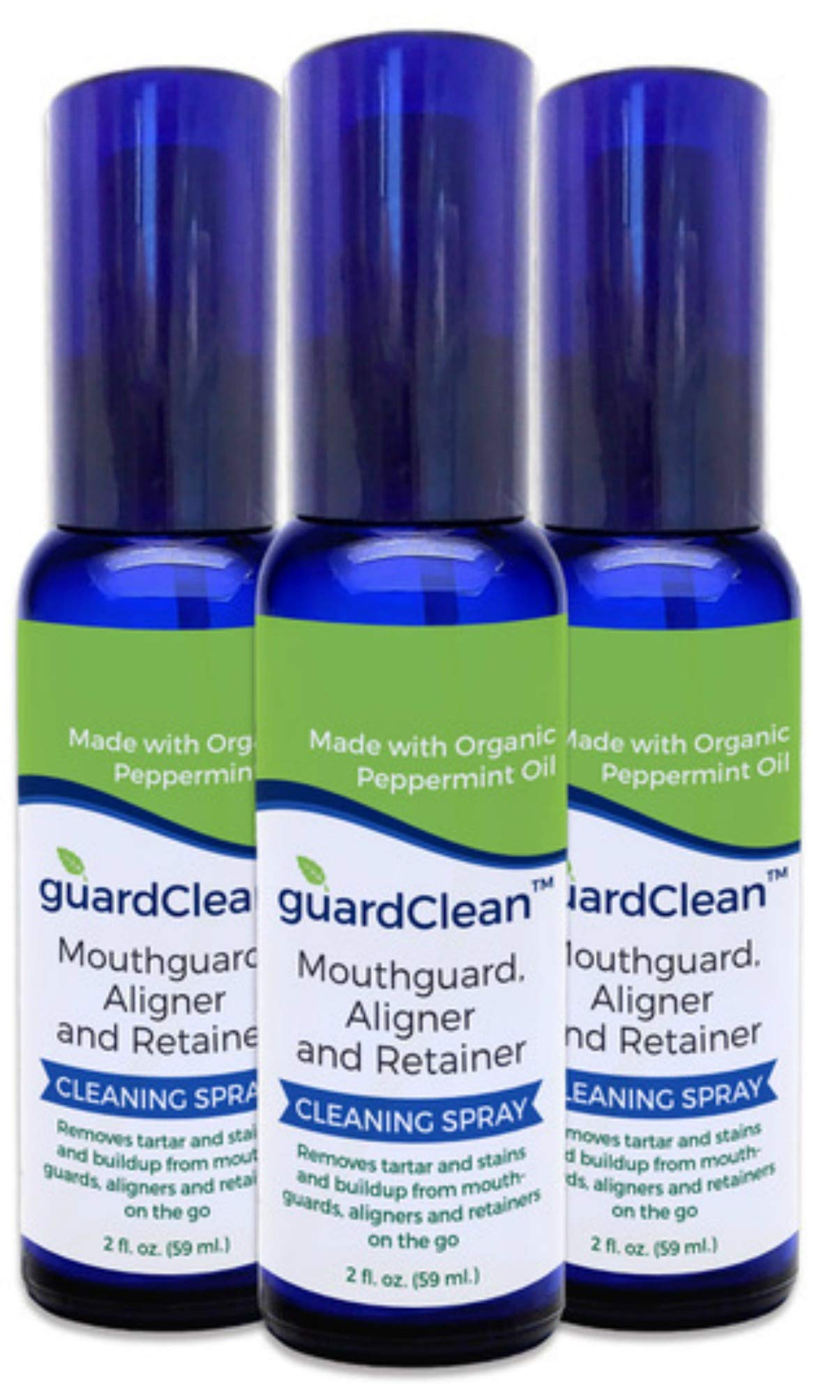 GuardClean Mouthguard, Aligner and Retainer Cleaning Spray Fights Stains and Tartar, Potent CPAP Cleaner Spray, Handy Travel Size, Works Fast, All Natural Ingredients(3-pack)
