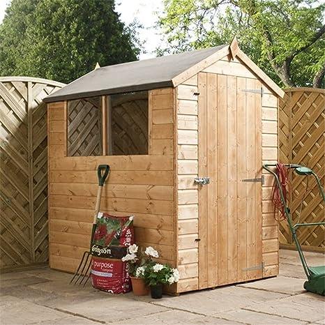 6 ft x 4 ft Apex machihembrados y caseta de jardín de madera con puerta +