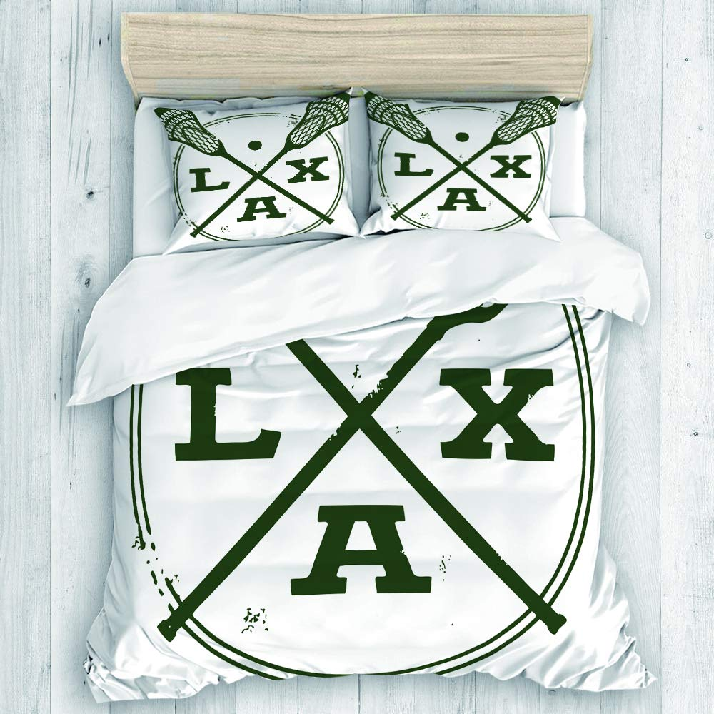 DAHALLAR Duvet Cover Set,Lacrosse LAX Vintage Style Stamp,Decorative 3 Piece Bedding Set with 2 Pillow Shams King Size