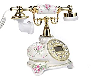 Antique Telephone, TelPal Corded Digital Vintage Telephone Classic European Retro Landline Telephone with Push Dial Buttons for Home Hotel Office Decor
