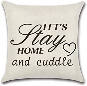 NKIPORU Home Quote Pillows Covers Let's Stay Home and Cuddle Cotton Linen Square Decorative Throw Pillowslips Cushion Cover Home Decor Pillowcases 18 x 18 Inches