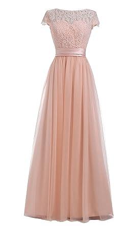 M Bridal Womens Cap Sleeve Crewneck Long Lace Chiffon Bridesmaid Prom Dress Pearl Pink Size 2
