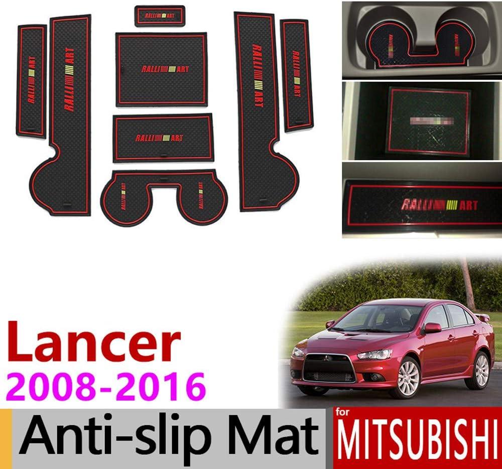 AniFM Non-Slip Door Slot Rubber Latex Slot Interior Dust Pad Cushion Mitsubishi Lancer 2008-2016 Ralliart EVO X Galant Fortis EX Accessories Car Stickers,Red