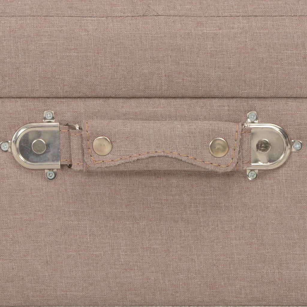 vidaXL 3x Sgabelli con Contenitore Poggiapiedi con Vano Portaoggetti Pouf Ottomana Bauletto in Tessuto e Legno Massello Beige