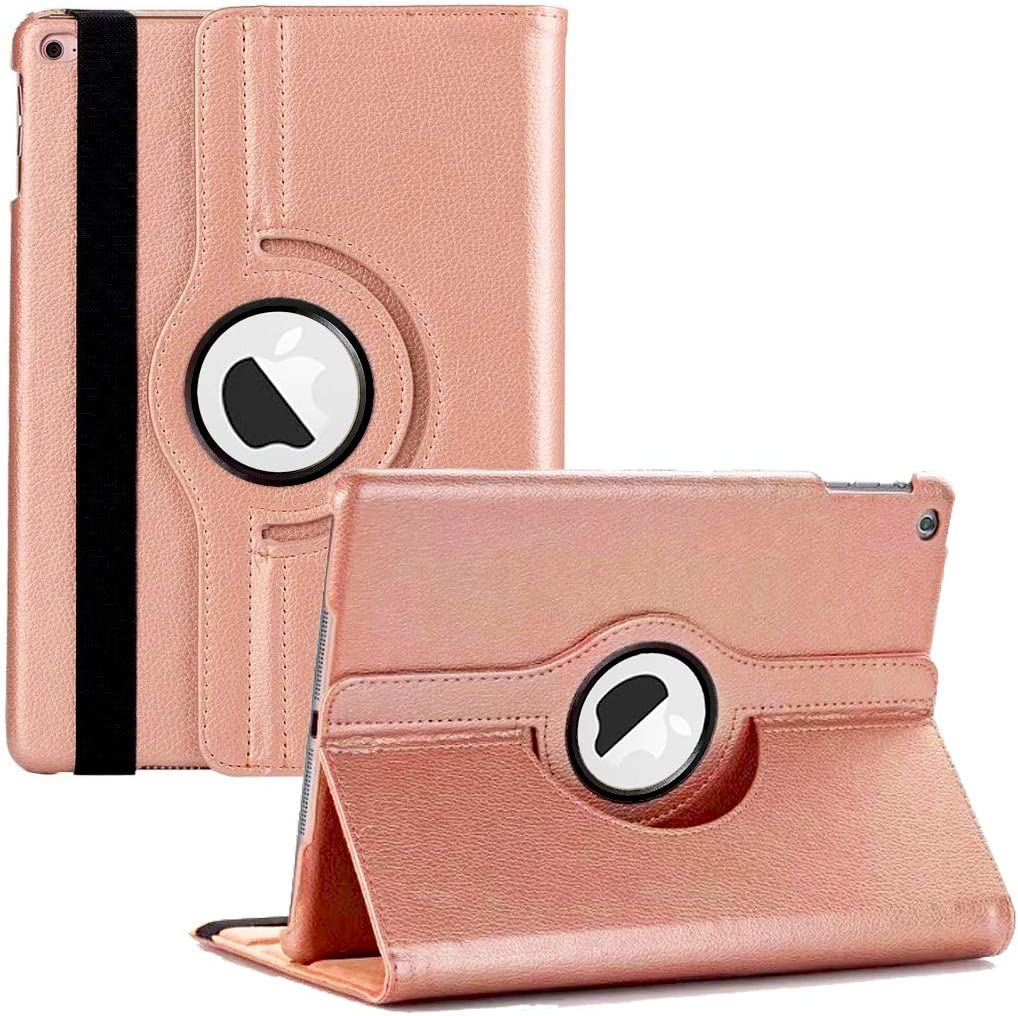 "New iPad 2017 9.7"" / iPad Air 2 Leather Case,360 Degree Rotating Stand Smart Cover with Auto Sleep Wake for Apple iPad Air or New iPad 9.7 Inch 2017 Tablet (Rose Gold)"